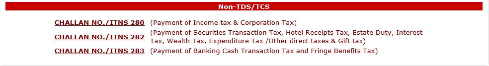 Challan 280 for Income tax e-filing