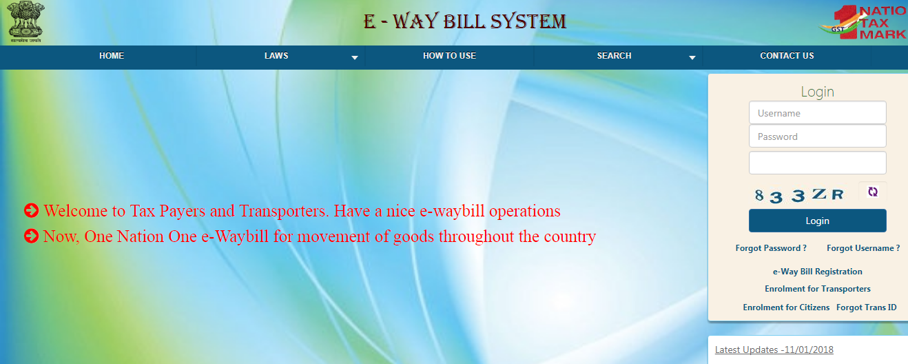 E-way bill portal Login