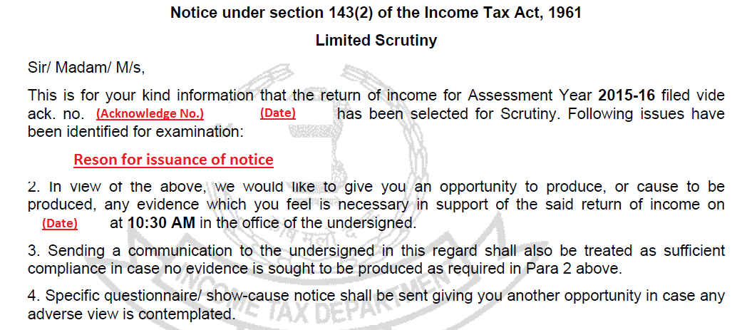 section 143(2) tax notice